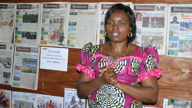 """Congolese editor Solange Lusiku Nsimire says journalism is a powerful way of building and preserving her troubled country's """"collective memory."""" Sylvain Muyali/Courtesy of IWMF"""