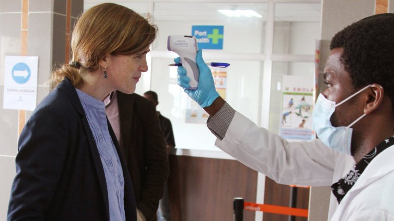 U.S. Ambassador to the United Nations Samantha Power had her temperature taken as she arrived in Freetown, Sierra Leone. Reuters /Landov