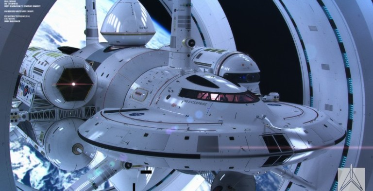 This render by artist Mark Rademaker shows NASA's first warp vessel, appropriately named the Enterprise.