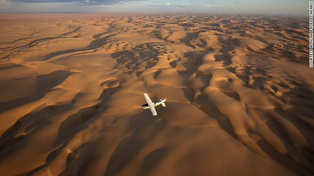 African Profile Safaris offers private flights over the Kalahari Desert and the Okavango Delta in southern Africa.