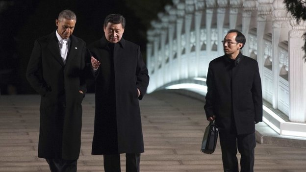 President Obama (left) later had talks with Chinese President Xi Jinping at the Zong Nan Hai leaders' compound
