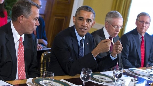 President Barack Obama meets with Congressional leaders in the Old Family Dining Room of the White House in Washington. From left are, House Speaker John Boehner of Ohio, Obama 7 November 2014 Mr Obama says he has been forced to act alone