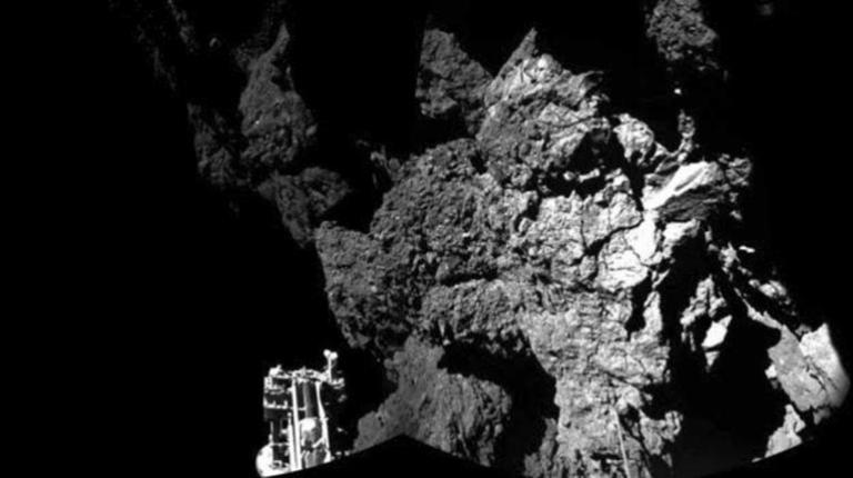 cometA probe named Philae is seen after it landed safely on a comet, known as 67P/Churyumov-Gerasimenko, in this CIVA handout image released Nov. 13, 2014.  Reuters/ESA Handout