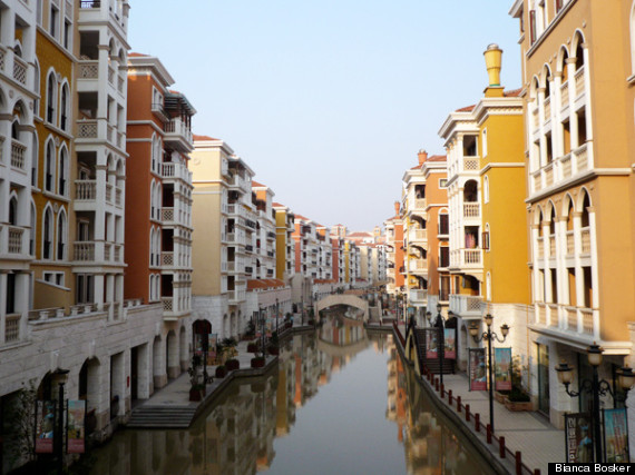 A quiet canal in Venice or an elaborate copycat version of the Italian city in Hangzhou, eastern China? It can often be difficult to tell -- although this is definitely the latter for any readers who can't be sure.