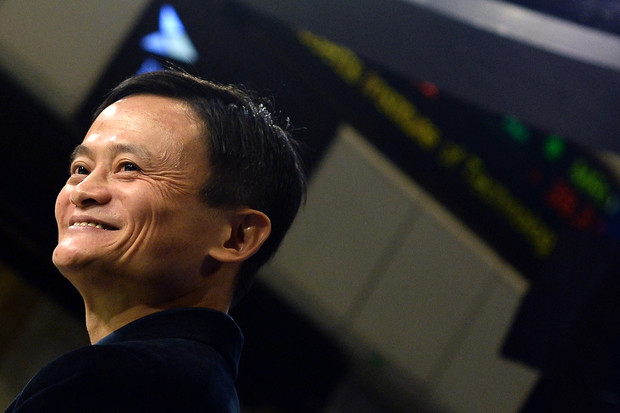 Photographer: Jewel Samad/AFP via Getty Images Alibaba founder Jack Ma on the floor at the New York Stock Exchange on Sept. 19, 2014.